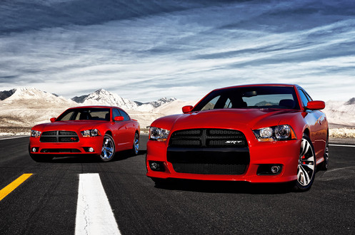 (L to R) 2011 Dodge Charger R/T and 2012 Dodge Charger SRT8